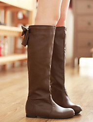 Women's Shoes PU Fall Winter Comfort Boots For Casual White Black Brown Khaki