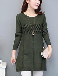 Normal Pullover Femme Décontracté / Quotidien Travail Chic de Rue,Couleur Pleine Col Arrondi Manches Longues Polyester Automne Moyen