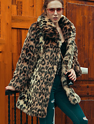 Women's Party Plus Size Casual/Daily Vintage Street chic Sophisticated Winter Fur Coat,Leopard Shirt Collar Long Sleeve Long Faux Fur
