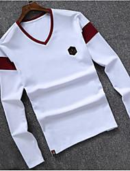 T-shirt Da uomo Casual Semplice Monocolore A V Cotone Manica lunga