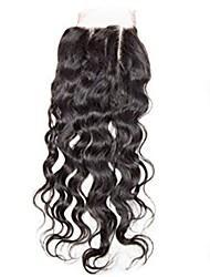 4x4inch волна воды кружева передняя крышка remy человеческие волосы закрытие детские волосы 8-20inch