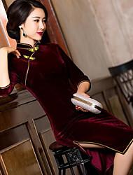 Gaine Robe Femme Soirée Sexy Chinoiserie,Couleur Pleine Col Arrondi Mi-long Demi Manches Polyester Printemps Automne Taille Normale
