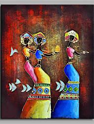 Pintados à mão Étnico Vertical,Artistíco Abstracto Clássico Activo Etnico e Inter-racial Ano Novo 1 Painel Tela Pintura a Óleo For