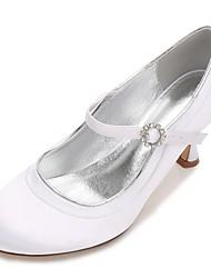 Damen Hochzeit Schuhe Komfort Mary Jane Pumps Satin Frühling Sommer Hochzeit Kleid Party & Festivität Strass Glitter Band-Bindung