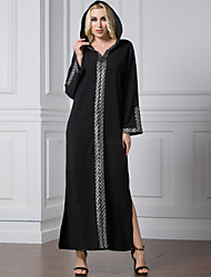 New Autumn Muslim Long Dress for Women High Quality O-neck Long Sleeve Solid Casual Chiffon Maxi Dresses robe longue femme