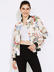 Women's Going out Street chic Jackets,Floral Stand Long Sleeve Fall / Winter White Polyester Medium