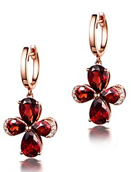 Mulheres Brincos Curtos Rubi Jóias de Luxo Estilo simples Clássico Bling Bling bijuterias Moda Cristal Rosa Folheado a Ouro Formato de