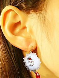 Un par de linda serie navideña gota pendientes de Santa Claus ciruelo fawn blanco pompon rojo cristal navideños pendientes accesorios de
