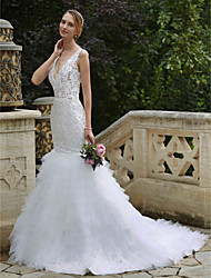 Mermaid / Trumpet Plunging Neckline Chapel Train Lace Tulle Wedding Dress with Appliques Tiered by LAN TING BRIDE®