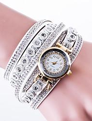 Mujer Reloj de Moda Reloj de Pulsera Reloj Pulsera Reloj de Cristal Pavé Chino Cuarzo Piel PU Banda Casual Creativo De Lujo Negro Blanco