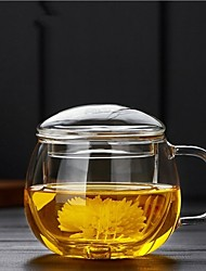 1Piece/Thickening heat-resistant glass round fun three cups tea cup filter covered with round office flowers teacup