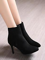 Damen Schuhe PU Herbst Winter Komfort High Heels Stöckelabsatz Spitze Zehe Mit Für Normal Schwarz Grau Blau
