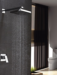 Contemporary Wall Mounted Rain Shower with  Ceramic Valve Chrome , Shower Faucet
