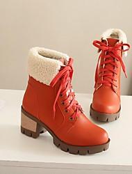 Для женщин Обувь Полиуретан Зима Удобная обувь Ботинки На толстом каблуке Круглый носок С Назначение Повседневные Черный Оранжевый Зеленый