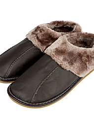 Men's Slippers Genuine Leather Cotton-Padded Close-Toe Slip-On Indoor Shoes