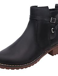 Damen Schuhe PU Herbst Winter Stiefeletten Stiefel Niedriger Absatz Runde Zehe Booties / Stiefeletten Für Normal Kleid Schwarz Grau