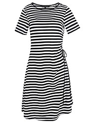 Women's Party Going out Casual/Daily Simple Cute Street chic T Shirt Dress,Striped Round Neck Knee-length Short Sleeves Cotton Polyester