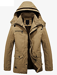 Men's Casual/Daily Simple Winter Coat,Solid Hooded Long Sleeve Regular Cashmere Cotton