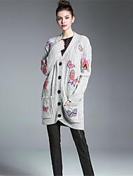 Для женщин На каждый день Винтаж Шинуазери (китайский стиль) Обычный Кардиган Однотонный С принтом,V-образный вырез Длинный рукав Шерсть