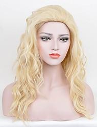 Mujer Pelucas sintéticas Sin Tapa Largo Rizado Marino Rubio Pelo de seda base Peluca de cosplay Peluca de fiesta Peluca de celebridades
