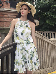 Mujer Simple Casual/Diario Primavera T-Shirt Pantalón Trajes,Halter Patrón Sin Mangas Microelástico