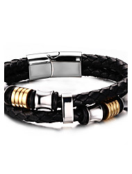 Men's Women's Leather Bracelet Hip-Hop Rock Leather Titanium Steel Circle Jewelry For Party Birthday Gift Evening Party