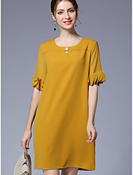 Women's Plus Size Casual/Daily Simple Loose Dress,Solid Round Neck Above Knee Half Sleeves Rayon Fall Mid Rise Inelastic Thin