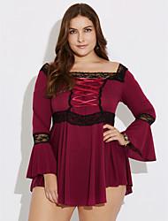 Mulheres Camisa Casual Plus Sizes / SimplesSólido Azul / Vermelho / Preto / Roxo Poliéster Decote Redondo Manga ¾ Média