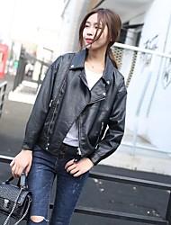 Для женщин На выход На каждый день Весна Осень Кожаные куртки Лацкан с тупым углом,Простой Активный Уличный стиль Однотонный Обычная