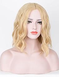 Mujer Pelucas sintéticas Sin Tapa Corto Rizado Blonde Pelo de seda base Raya en medio Corte Pixie Peluca de cosplay Peluca natural Peluca