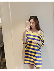 Women's Casual/Daily Simple T-shirt,Striped One Shoulder Half Sleeves Cotton