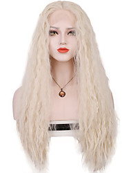 Mujer Pelucas sintéticas Encaje Frontal Largo Suelto Plata Parte central de la costura 100% kanekalon pelo Con mechones Peluca de cosplay