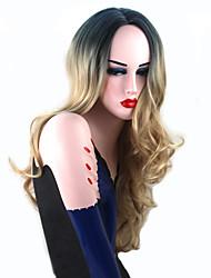 Mujer Pelucas sintéticas Sin Tapa Largo Ondulado Grande Rubio Pelo de seda base Raíces oscuras Entradas Naturales Raya en medio Peluca de