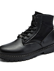 Men's Shoes PU Fall Winter Comfort Combat Boots Boots Lace-up For Casual Outdoor Khaki Black
