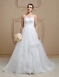 Corte en A Princesa Tirantes Spaghetti Corte Organza Vestido de novia con Cuentas Flor(es) Cinta / Lazo por LAN TING BRIDE®