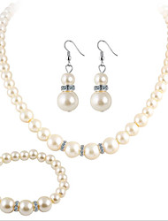 Fashion Luxury Elegant Women Necklace Earrings Jewelry Sets Crystal Gold Silver Rhinestone Pearl Wedding Party Bridal Jewelry Sets Accessories