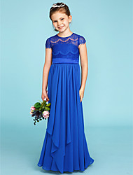A-Line Princess Crew Neck Floor Length Chiffon Lace Junior Bridesmaid Dress with Bow(s) Sashes / Ribbons by LAN TING BRIDE®