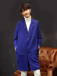 Men's Casual/Daily Simple Fall Winter Trench Coat,Solid Peaked Lapel Long Sleeve Long Others
