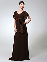 Sheath / Column V-neck Floor Length Chiffon Formal Evening Military Ball Dress with Bow(s) Sash / Ribbon by TS Couture®