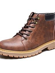 Herren Schuhe Leder Herbst Winter Springerstiefel Stiefel Booties / Stiefeletten Schnürsenkel Für Normal Grau Gelb Braun