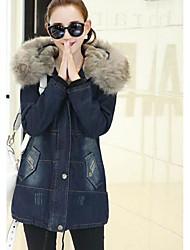 Пальто Простое На подкладке Для женщин,Однотонный На каждый день Шерсть Шерсть,Длинный рукав