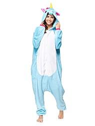 kigurumi Pyjamas Unicorn Collant/Combinaison Fête / Célébration Pyjamas Animale Halloween Bleu Animal Kigurumi Pour Unisexe Halloween