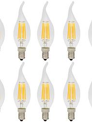 6W Ampoules à Filament LED CA35 6 COB 560 lm Blanc Chaud Blanc Froid Décorative AC 100-240 V 10 pièces E14
