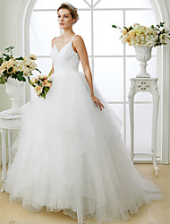 Ball Gown Spaghetti Straps Sweep / Brush Train Tulle Wedding Dress with Criss Cross by LAN TING BRIDE®