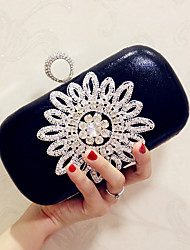 New Women's Fashion Leather/PU Formal Event/Party Wedding Evening Bag/Handbag/Clutch with Flower/ Diamonds Black Gold Silver
