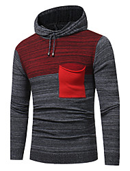 Men's Going out Casual/Daily Simple Regular Pullover,Color Block Hooded Long Sleeves Cotton Fall Winter Thick Stretchy