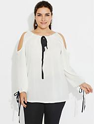 Feminino Camiseta Para Noite Férias Tamanhos Grandes Fofo Moda de Rua Primavera Outono,Sólido Branco Poliéster Decote Redondo Manga Longa