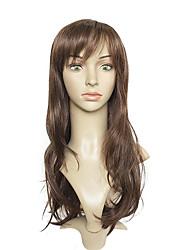 Mujer Pelucas sintéticas Sin Tapa Largo Ondulado Marrón Corte a capas Peluca de celebridades Las pelucas del traje