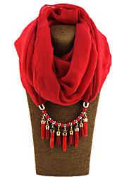 Feminino Liga Resina com clip de metal 47% Wool25% algodão 28% linho Todas as Estações Cachecol Infinito,Sólido