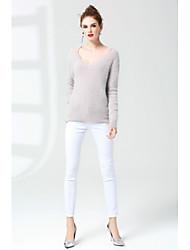 Mujer Regular Pullover Casual/Diario Simple,Un Color Escote en Pico Manga Larga Pelo de Conejo Otoño Medio Microelástico